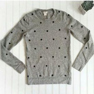 J. Crew Grey Sweater with Black Polka Dots Size S